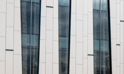 Bridge For Laboratory Sciences Fritted Bird Friendly Glass Northwest Facade © Richard Barnes